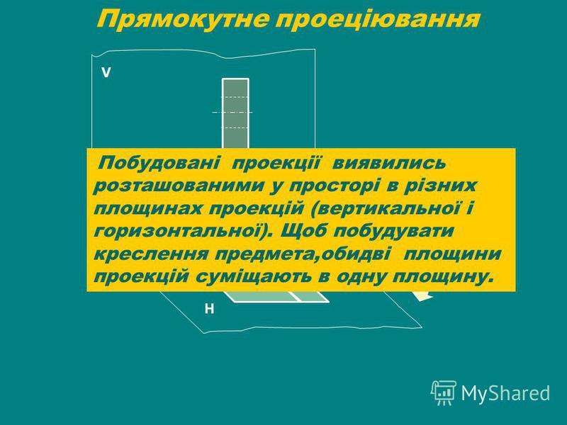 Прямокутне проеціювання V Н Побудовані проекції виявились розташованими у просторі в різних площинах проекцій (вертикальної і горизонтальної). Щоб побудувати креслення предмета,обидві площини проекцій суміщають в одну площину.
