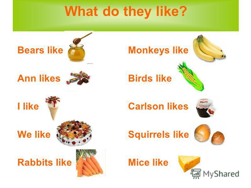 What do they like? Bears like Ann likes I like We like Rabbits like Monkeys like Birds like Carlson likes Squirrels like Mice like