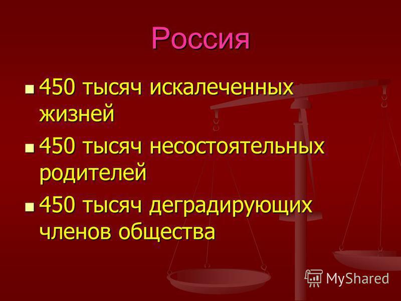 Россия 450 тысяч искалеченных жизней 450 тысяч искалеченных жизней 450 тысяч несостоятельных родителей 450 тысяч несостоятельных родителей 450 тысяч деградирующих членов общества 450 тысяч деградирующих членов общества