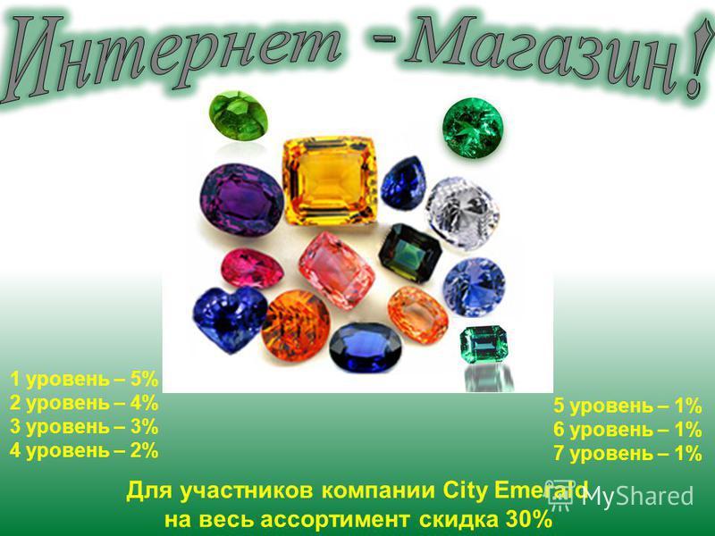 1 уровень – 5% 2 уровень – 4% 3 уровень – 3% 4 уровень – 2% 5 уровень – 1% 6 уровень – 1% 7 уровень – 1% Для участников компании City Emerald на весь ассортимент скидка 30%