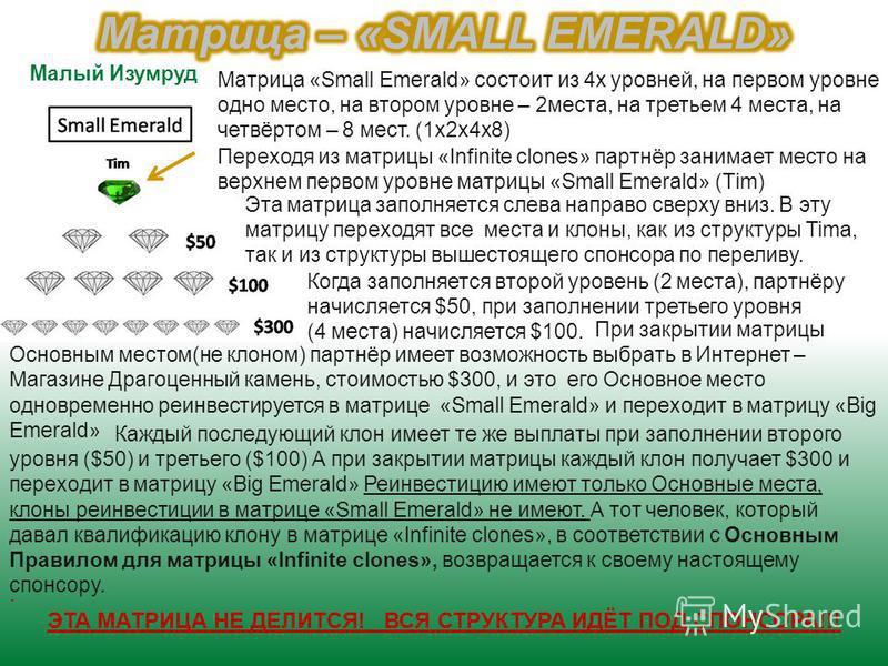 Матрица «Small Emerald» состоит из 4 х уровней, на первом уровне одно место, на втором уровне – 2 места, на третьем 4 места, на четвёртом – 8 мест. (1 х 2 х 4 х 8) Переходя из матрицы «Infinite clones» партнёр занимает место на верхнем первом уровне