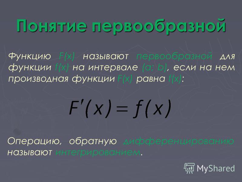 Понятие первообразной Функцию F(x) называют первообразной для функции f(x) на интервале (a; b), если на нем производная функции F(x) равна f(x): Операцию, обратную дифференцированию называют интегрированием.