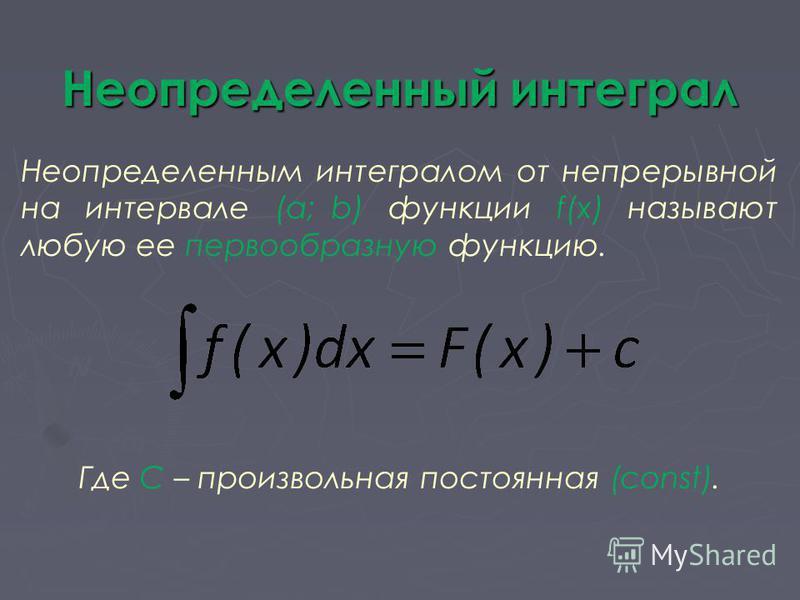 Неопределенный интеграл Неопределенным интегралом от непрерывной на интервале (a; b) функции f(x) называют любую ее первообразную функцию. Где С – произвольная постоянная (const).