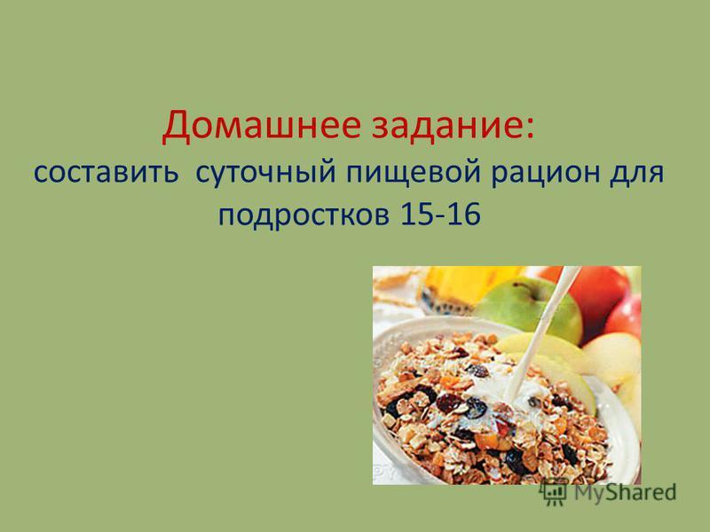 Домашнее задание: составить суточный пищевой рацион для подростков 15-16