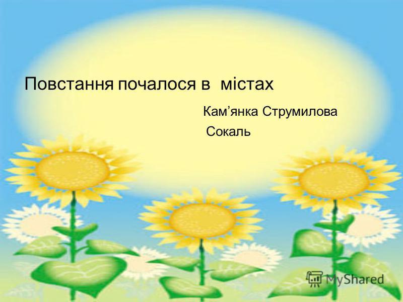 Повстання почалося в містах Камянка Струмилова Сокаль