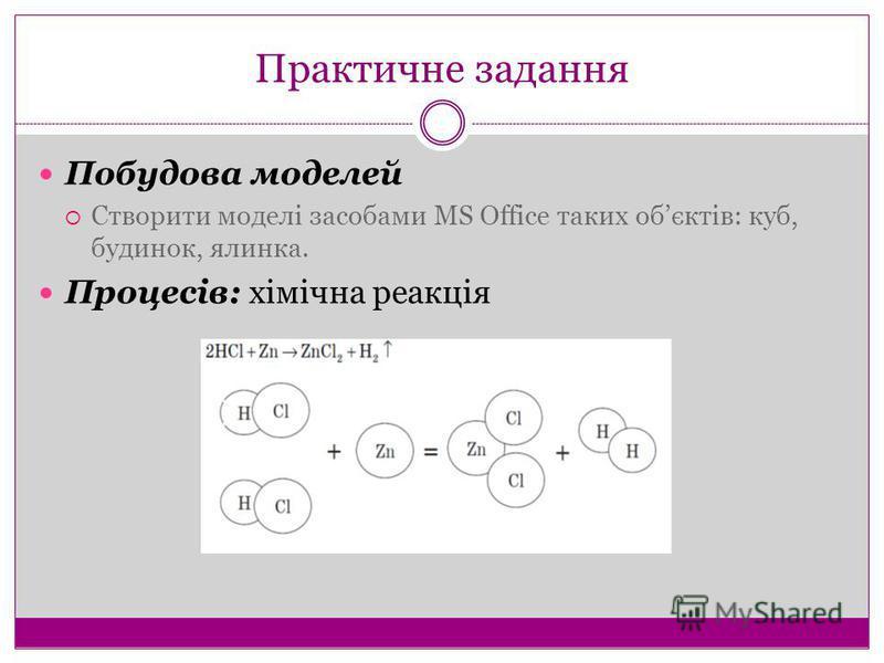 Практичне задання Побудова моделей Створити моделі засобами MS Office таких обєктів: куб, будинок, ялинка. Процесів: хімічна реакція