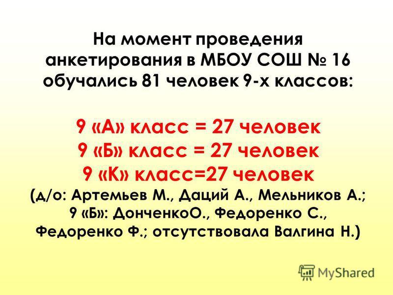На момент проведения анкетирования в МБОУ СОШ 16 обучались 81 человек 9-х классов: 9 «А» класс = 27 человек 9 «Б» класс = 27 человек 9 «К» класс=27 человек (д/о: Артемьев М., Даций А., Мельников А.; 9 «Б»: ДонченкоО., Федоренко С., Федоренко Ф.; отсу