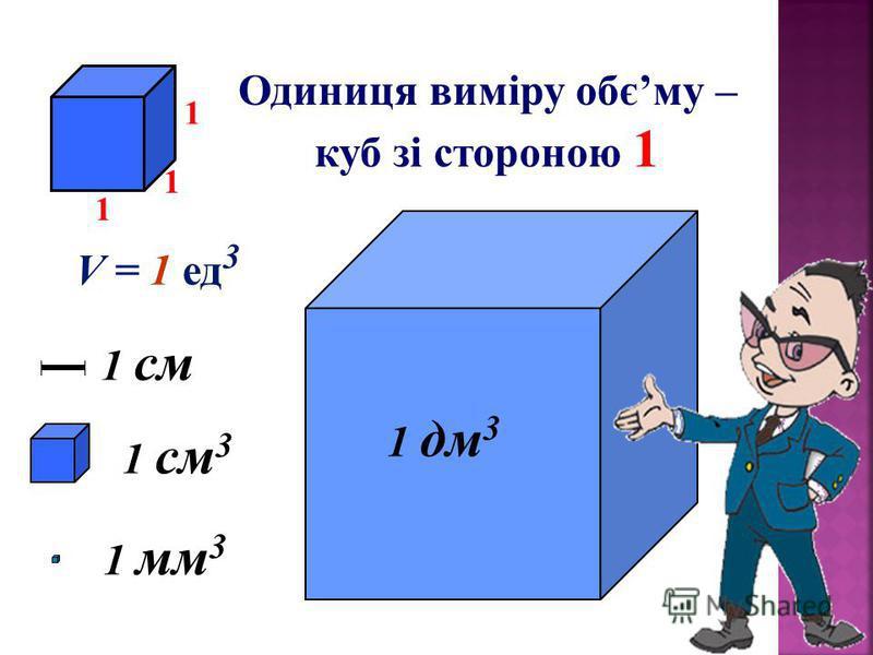 Одиниця виміру обєму – куб зі стороною 1 1 см 3 1 мм31 мм3 1 дм 3 1 см 1 1 1 V = 1 ед 3