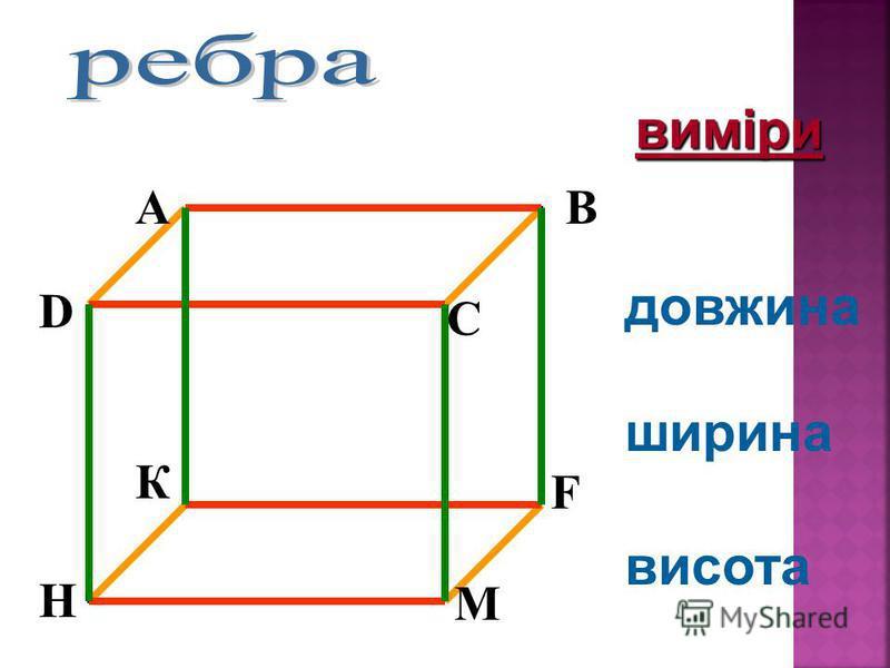 довжина ширина висота AB C D К F М H виміри