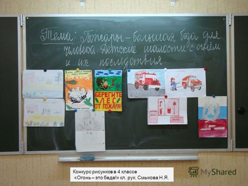 Конкурс рисунков в 4 классе «Огонь – это беда!» кл. рук. Смыкова Н.Я.