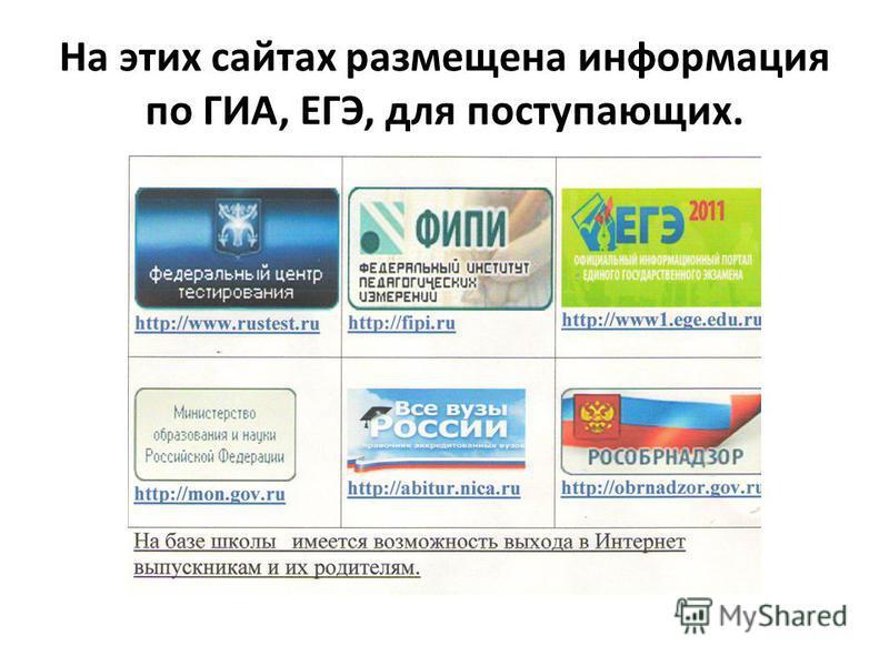 На этих сайтах размещена информация по ГИА, ЕГЭ, для поступающих.