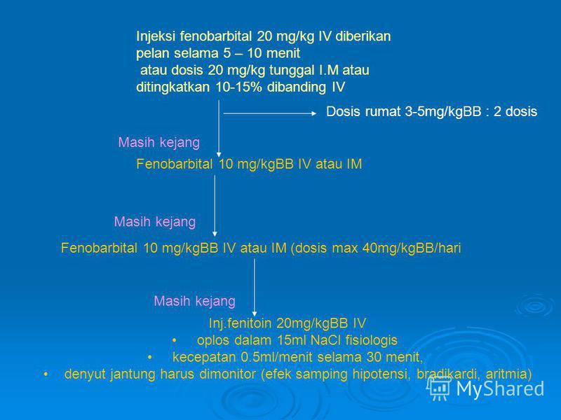 Injeksi fenobarbital 20 mg/kg IV diberikan pelan selama 5 – 10 menit atau dosis 20 mg/kg tunggal I.M atau ditingkatkan 10-15% dibanding IV Fenobarbital 10 mg/kgBB IV atau IM Fenobarbital 10 mg/kgBB IV atau IM (dosis max 40mg/kgBB/hari Inj.fenitoin 20