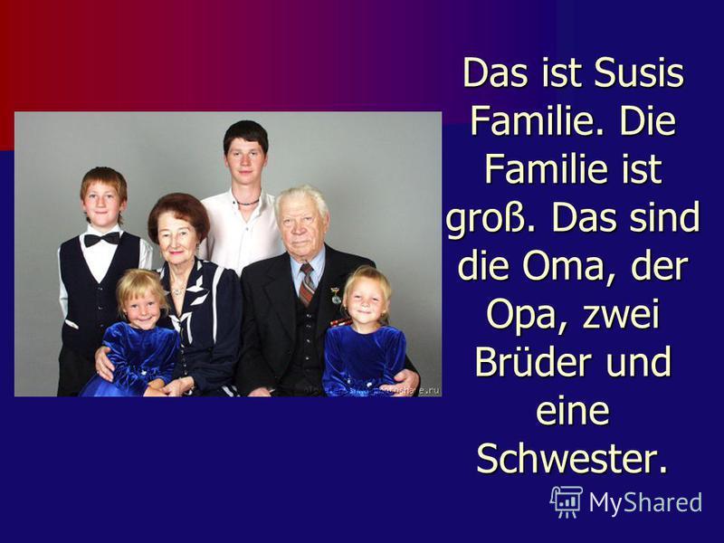 Das ist Susis Familie. Die Familie ist groß. Das sind die Oma, der Opa, zwei Brüder und eine Schwester.