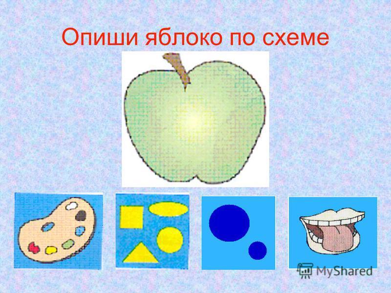 Опиши яблоко по схеме