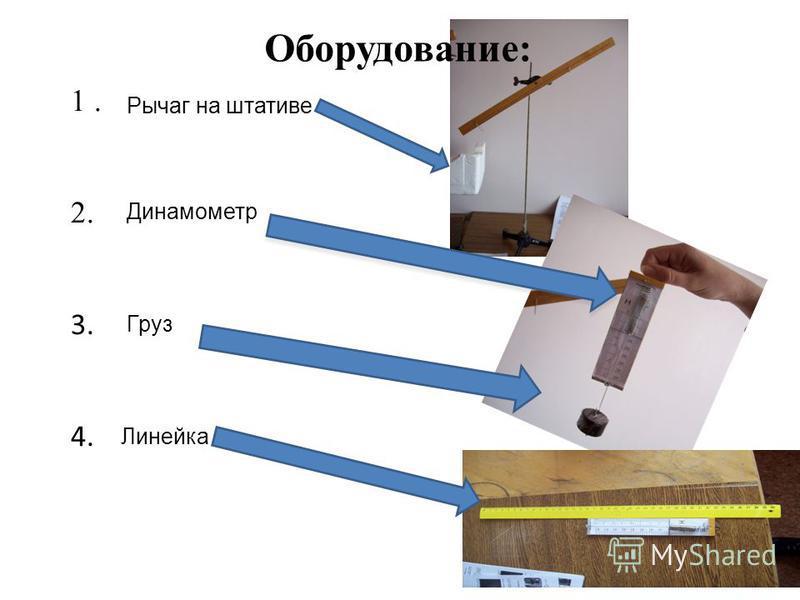 1. 2. 3. 4. Оборудование: Рычаг на штативе Динамометр Груз Линейка