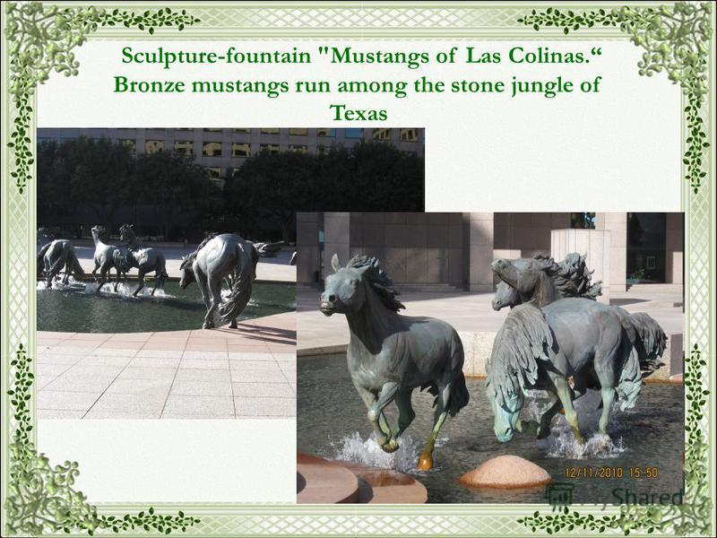 Sculpture-fountain Mustangs of Las Colinas. Bronze mustangs run among the stone jungle of Texas
