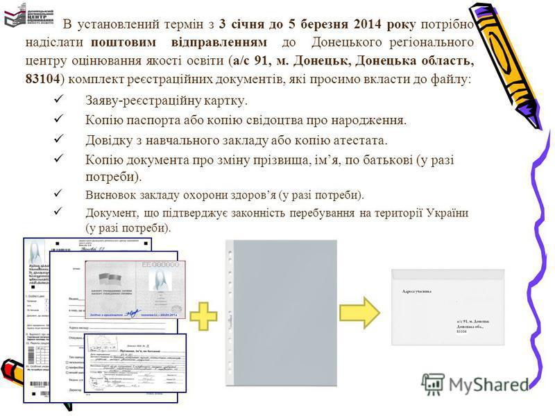 В установлений термін з 3 січня до 5 березня 2014 року потрібно надіслати поштовим відправленням до Донецького регіонального центру оцінювання якості освіти (а/с 91, м. Донецьк, Донецька область, 83104) комплект реєстраційних документів, які просимо