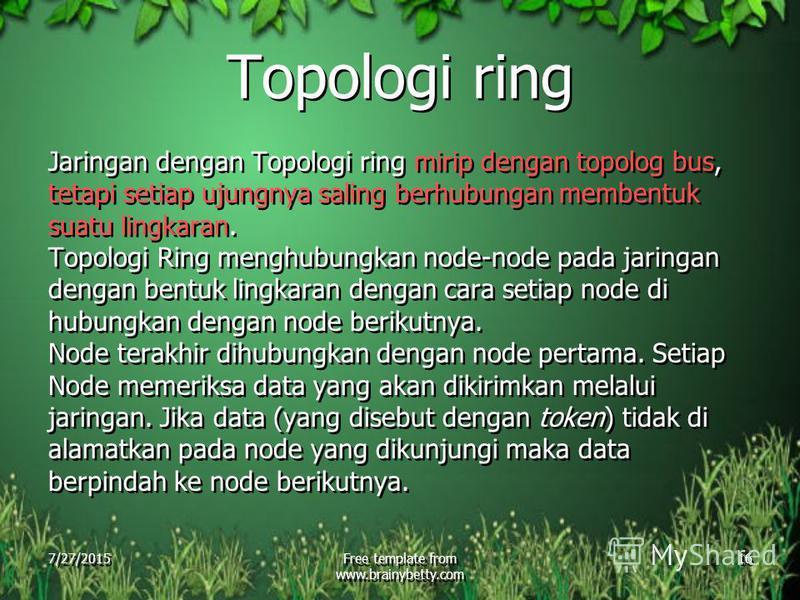 7/27/2015Free template from www.brainybetty.com 16 Topologi ring Jaringan dengan Topologi ring mirip dengan topolog bus, tetapi setiap ujungnya saling berhubungan membentuk suatu lingkaran. Topologi Ring menghubungkan node-node pada jaringan dengan b