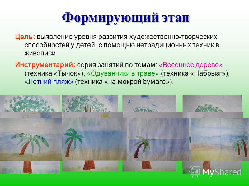 Цель: выявление уровня развития художественно-творческих способностей у детей с помощью нетрадиционных техник в живописи Инструментарий: серия занятий по темам: «Весеннее дерево» (техника «Тычок»), «Одуванчики в траве» (техника «Набрызг»), «Летний пл