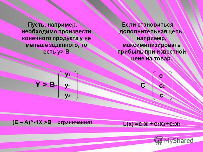 Пусть, например, необходимо произвести конечного продукта у не меньше заданного, то есть у> B y 1 Y > B 2 y 2 y 3 (E – A)^-1X >B ограничения 1 Если становиться дополнительная цель, например, максимилизировать прибыль при известной цене на товар. с 1