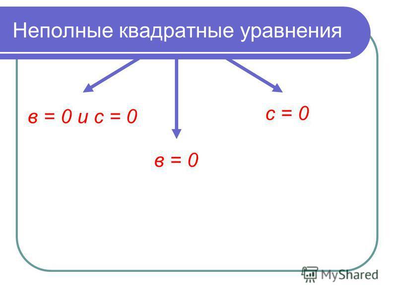 Неполные квадратные уравнения в = 0 и с = 0 в = 0 с = 0