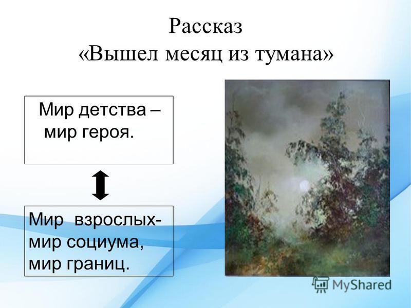 Рассказ «Вышел месяц из тумана» Мир детства – мир героя. Мир взрослых- мир социума, мир границ.