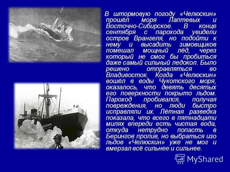 В штормовую погоду «Челюскин» прошёл моря Лаптевых и Восточно-Сибирское. В конце сентября с парохода увидели остров Врангеля, но подойти к нему и высадить зимовщиков помешал мощный лёд, через который не смог бы пробиться даже самый сильный ледокол. Б