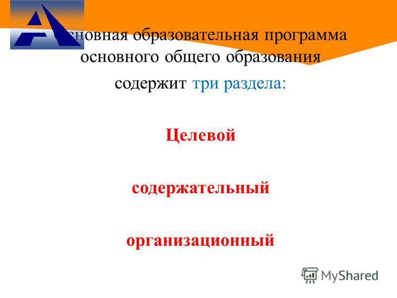 Основная образовательная программа основного общего образования содержит три раздела: Целевой содержательный организационный