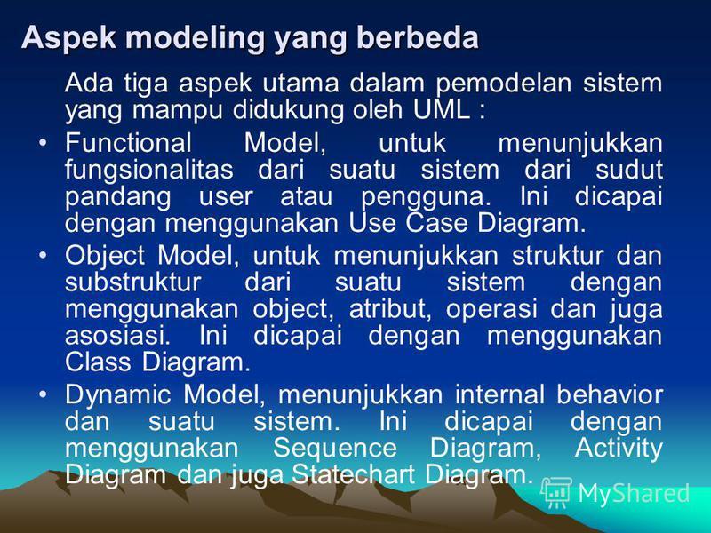 Aspek modeling yang berbeda Ada tiga aspek utama dalam pemodelan sistem yang mampu didukung oleh UML : Functional Model, untuk menunjukkan fungsionalitas dari suatu sistem dari sudut pandang user atau pengguna. Ini dicapai dengan menggunakan Use Case