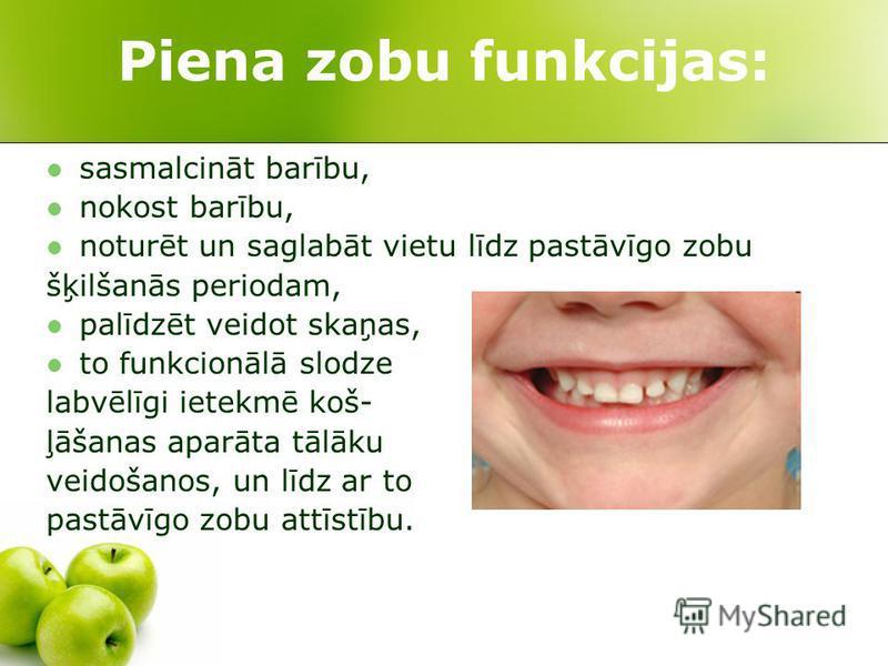 Piena zobu funkcijas: sasmalcināt barību, nokost barību, noturēt un saglabāt vietu līdz pastāvīgo zobu šķilšanās periodam, palīdzēt veidot skaņas, to funkcionālā slodze labvēlīgi ietekmē koš- ļāšanas aparāta tālāku veidošanos, un līdz ar to pastāvīgo