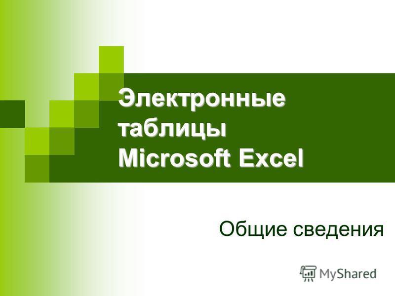 Электронные таблицы Microsoft Excel Общие сведения