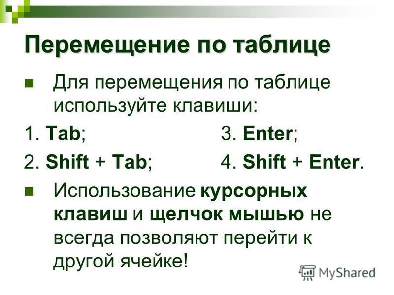 Перемещение по таблице Для перемещения по таблице используйте клавиши: 1. Tab;3. Enter; 2. Shift + Tab;4. Shift + Enter. Использование курсорных клавиш и щелчок мышью не всегда позволяют перейти к другой ячейке!