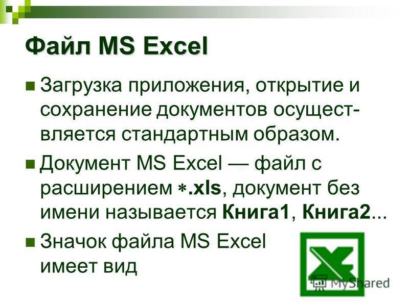 Файл MS Excel Загрузка приложения, открытие и сохранение документов осуществляется стандартным образом. Документ MS Excel файл с расширением.xls, документ без имени называется Книга 1, Книга 2... Значок файла MS Excel имеет вид