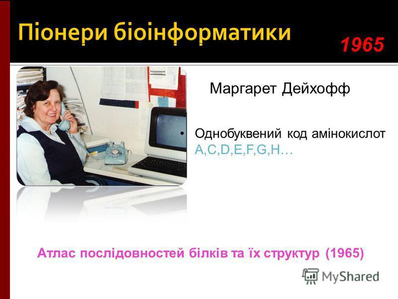 Маргарет Дейхофф Однобуквений код амінокислот A,C,D,E,F,G,H… 1965 Атлас послідовностей білків та їх структур (1965)