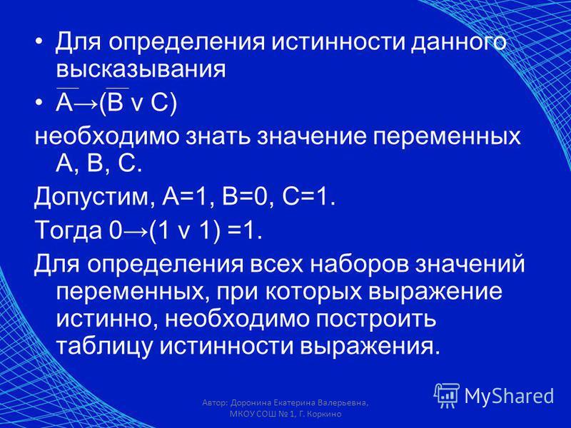 Автор: Доронина Екатерина Валерьевна, МКОУ СОШ 1, Г. Коркино Для определения истинности данного высказывания А(В v С) необходимо знать значение переменных А, В, С. Допустим, А=1, В=0, С=1. Тогда 0(1 v 1) =1. Для определения всех наборов значений пере