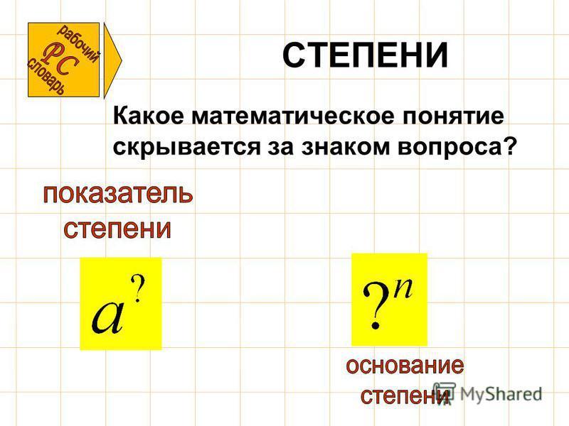 СТЕПЕНИ Какое математическое понятие скрывается за знаком вопроса?