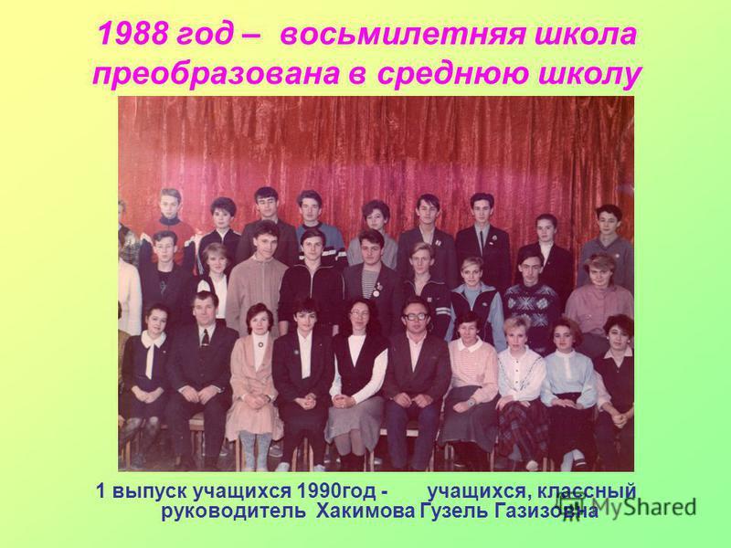 1988 год – восьмилетняя школа преобразована в среднюю школу 1 выпуск учащихся 1990 год - учащихся, классный руководитель Хакимова Гузель Газизовна