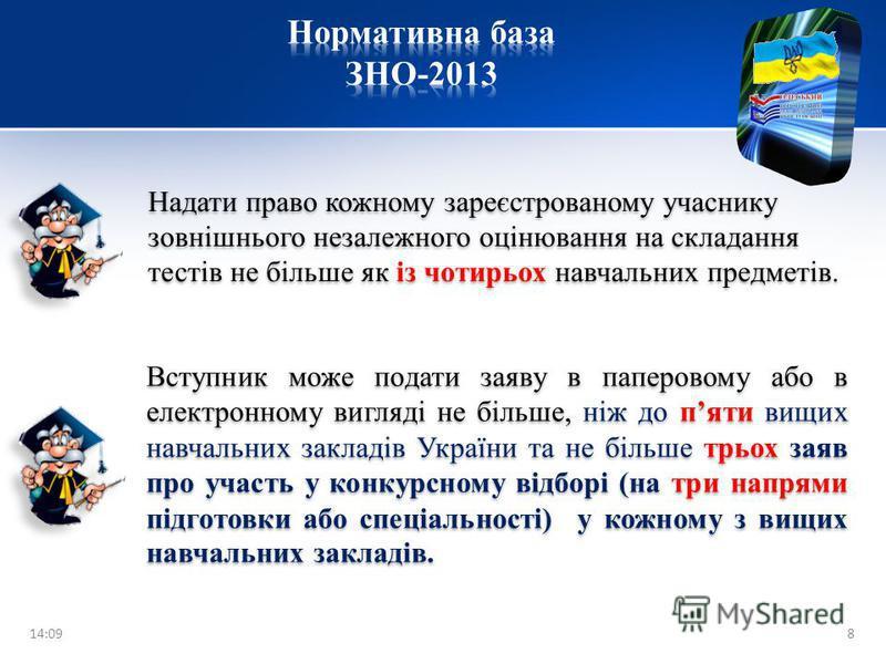 Предмет 20042005200620072008200920102011 20122013 Українська мова -*** + + + + + + Українська література ---- Історія України * * * * ++++ ++ Всесвітня історія *+--- ++ Математика ****++++ ++ Фізика ---*++++ ++ Хімія --**++++ ++ Зарубіжна література