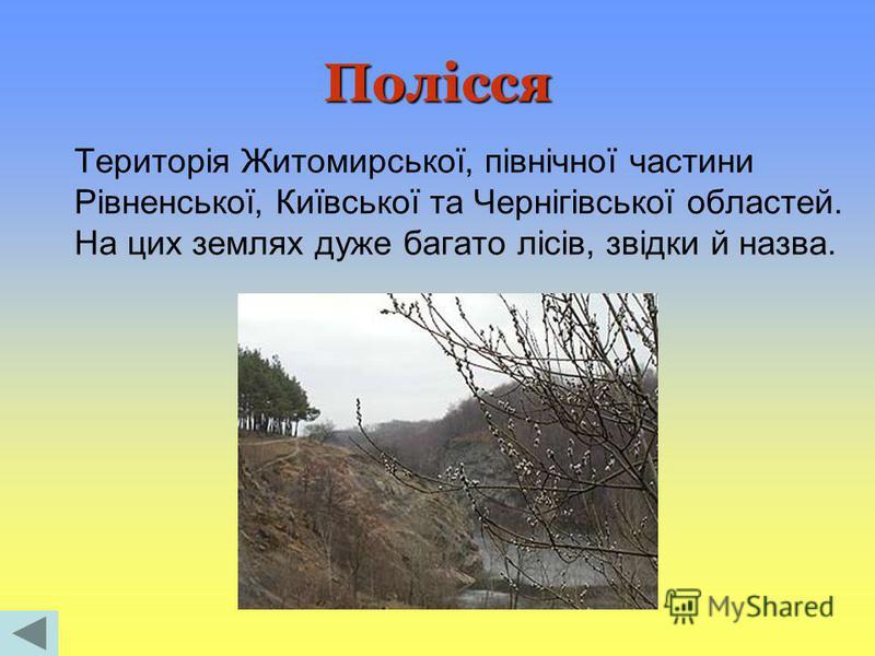 Полісся Територія Житомирської, північної частини Рівненської, Київської та Чернігівської областей. На цих землях дуже багато лісів, звідки й назва.