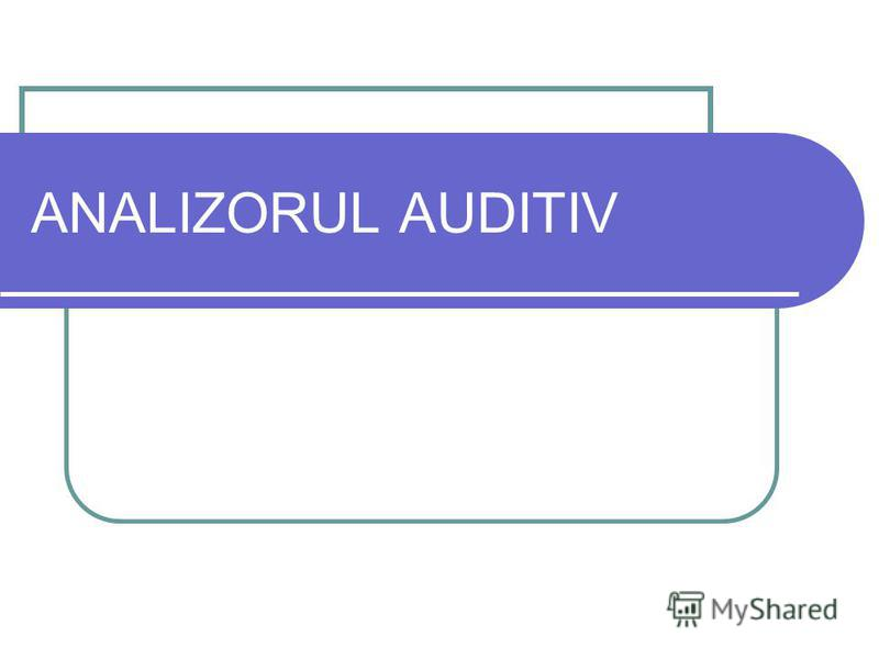 ANALIZORUL AUDITIV