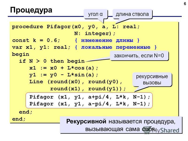 6 Процедура угол α длина ствола procedure Pifagor(x0, y0, a, L: real; N: integer); const k = 0.6; { изменение длины } var x1, y1: real; { локальные переменные } begin if N > 0 then begin x1 := x0 + L*cos(a); y1 := y0 - L*sin(a); Line (round(x0), roun