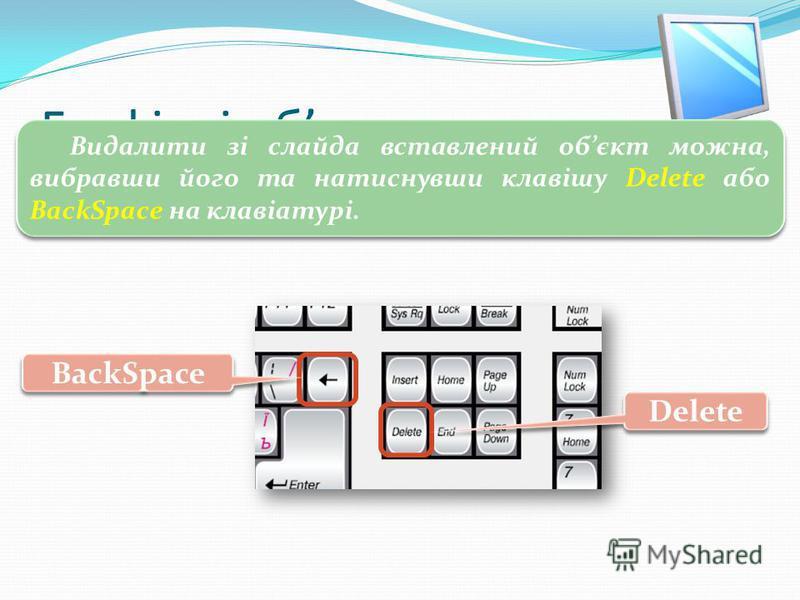 3 Графічні обєкти Видалити зі слайда вставлений обєкт можна, вибравши його та натиснувши клавішу Delete або BackSpace на клавіатурі. BackSpace Delete
