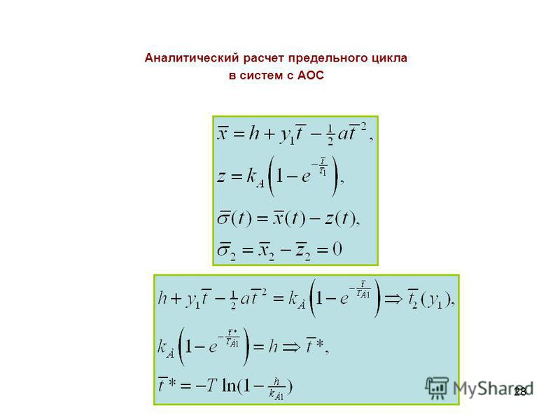 28 Аналитический расчет предельного цикла в систем с АОС