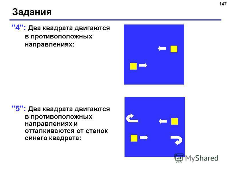 147 4: Два квадрата двигаются в противоположных направлениях: 5: Два квадрата двигаются в противоположных направлениях и отталкиваются от стенок синего квадрата: Задания