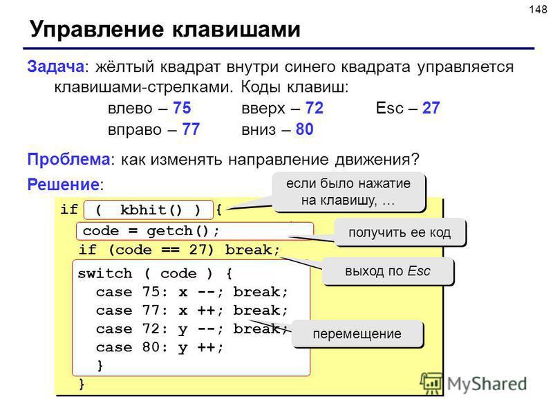 148 Управление клавишами Задача: жёлтый квадрат внутри синего квадрата управляется клавишами-стрелками. Коды клавиш: влево – 75 вверх – 72Esc – 27 вправо – 77 вниз – 80 Проблема: как изменять направление движения? Решение: if нажата клавиша { получит