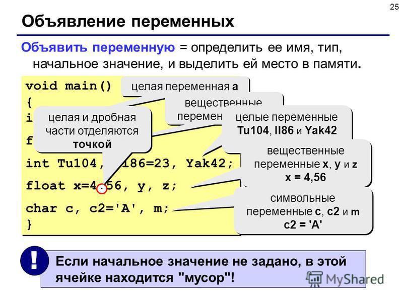 25 Объявление переменных Объявить переменную = определить ее имя, тип, начальное значение, и выделить ей место в памяти. void main() { int a; float b, c; int Tu104, Il86=23, Yak42; float x=4.56, y, z; char c, c2='A', m; } void main() { int a; float b