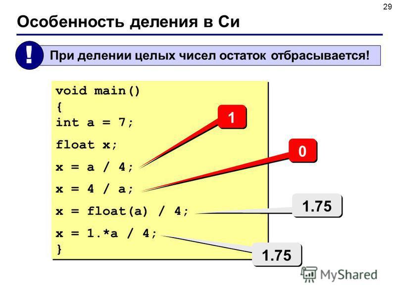 29 Особенность деления в Си При делении целых чисел остаток отбрасывается! ! void main() { int a = 7; float x; x = a / 4; x = 4 / a; x = float(a) / 4; x = 1.*a / 4; } void main() { int a = 7; float x; x = a / 4; x = 4 / a; x = float(a) / 4; x = 1.*a