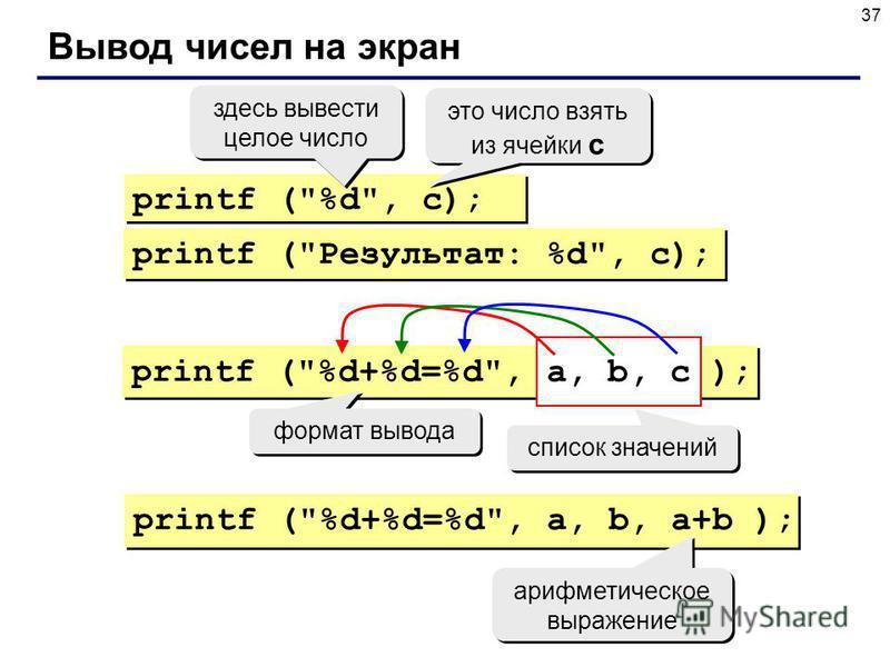 37 Вывод чисел на экран printf (