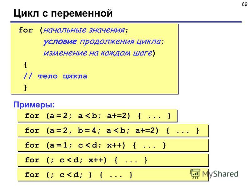 69 Цикл с переменной for ( начальные значения ; условие продолжения цикла ; изменение на каждом шаге ) { // тело цикла } for ( начальные значения ; условие продолжения цикла ; изменение на каждом шаге ) { // тело цикла } Примеры: for (a = 2; a < b; a