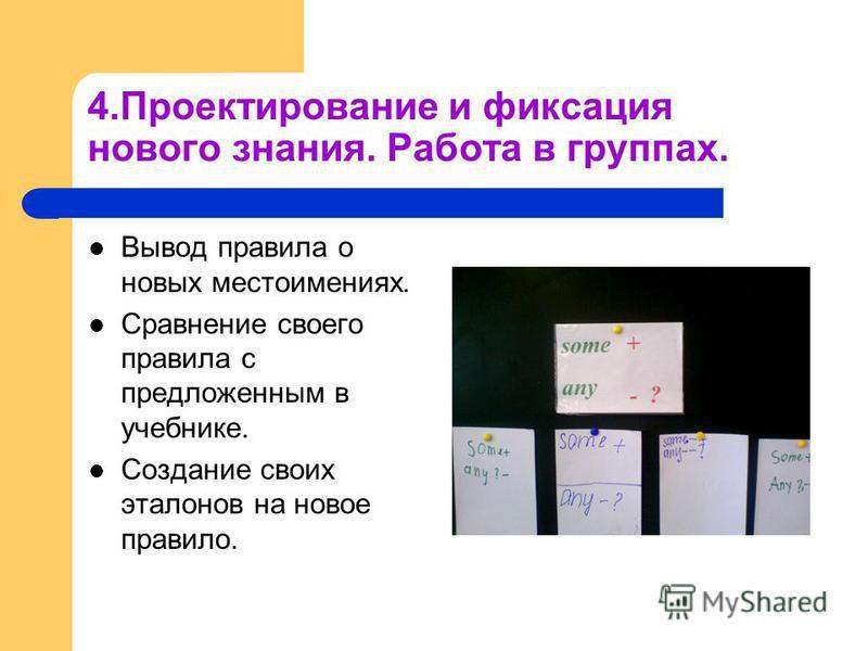 4. Проектирование и фиксация нового знания. Работа в группах. Вывод правила о новых местоимениях. Сравнение своего правила с предложенным в учебнике. Создание своих эталонов на новое правило.